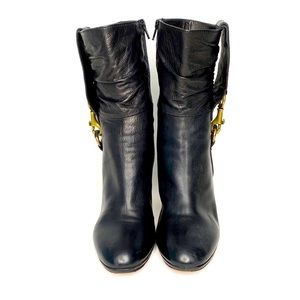 COACH BLACK LEATHER TOREE ANKLE BOOTS SZ 9.5